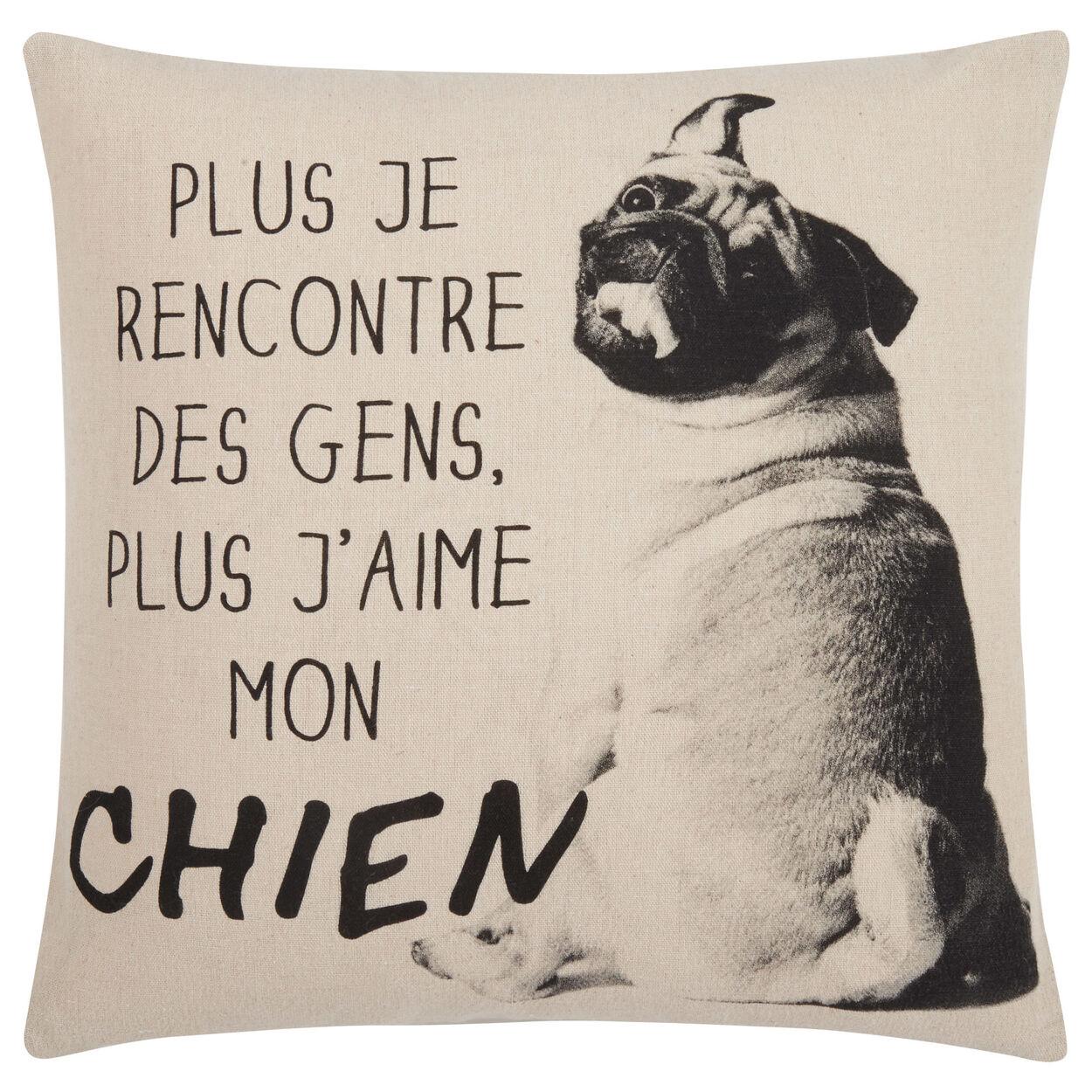 """J'aime Mon Chien Decorative Pillow Cover 18"""" X 18"""""""