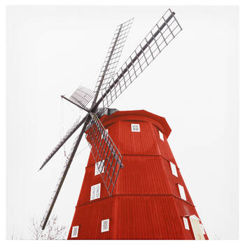 Red Windmill Printed Canvas
