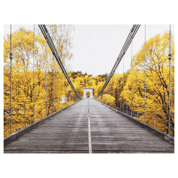 Bridge in Yellow Trees Printed Canvas