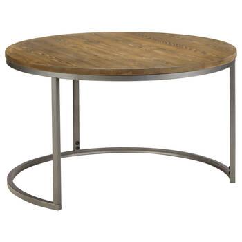 Ensemble de 2 tables basses en pin avec pieds en métal