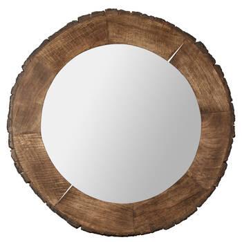 Miroir avec cadre look tronc d'arbre