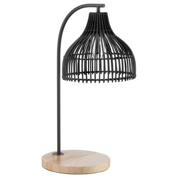 Lampe de table en rotin noir