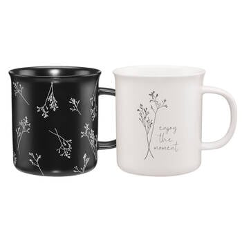 Set of 2 Mugs with Flowers and Writing