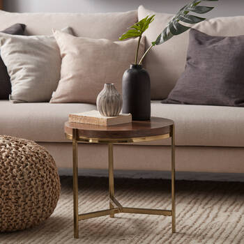 Veneer and Metal Side Table