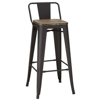 Solid Elm Wood and Metal Bar Stool