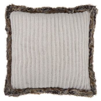 "Jaylow Knitted Decorative Pillow with Faux Fur 18"" X 18"""