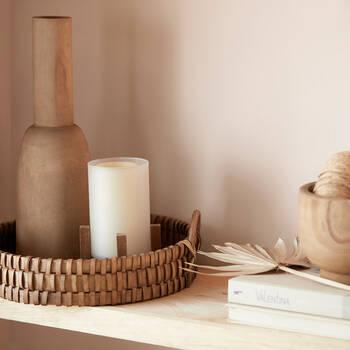 Brown Wood Curved Vase