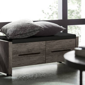 Faux Leather and Veneer Storage Bench