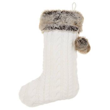 Bas de Noël en tricot et en fausse fourrure
