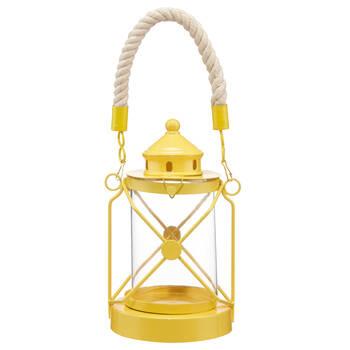Porte-chandelle lanterne en métal avec poignée en corde