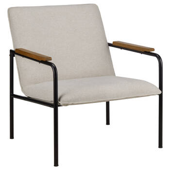 Metal and Fabric Lounge Chair in Oatmeal