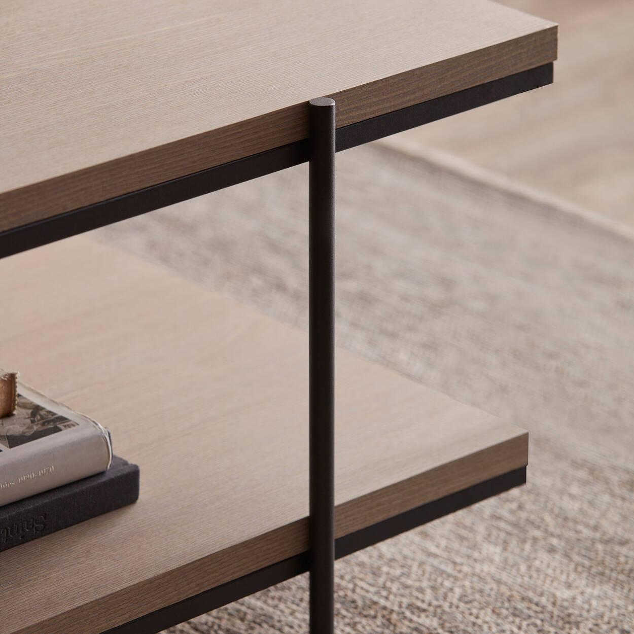 Table basse en placage et en métal