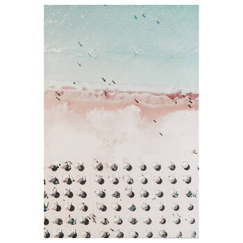 Parasols on Pink Beach Printed Canvas