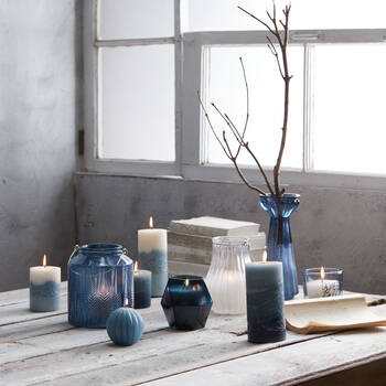 Frosted Glass Pillar Candle Holder