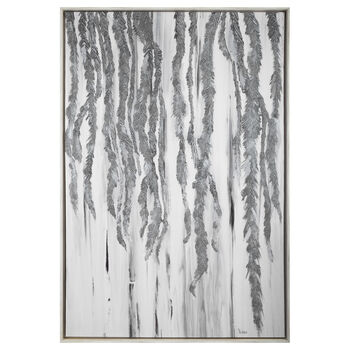 Oversized Printed & Painted Silver Leaf Framed Art