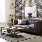2-Seat Faux Leather and Metal Sofa