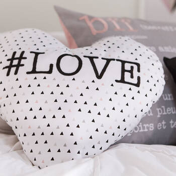 "#Love Heart-Shaped Decorative Pillow 15"" X 16.6"""