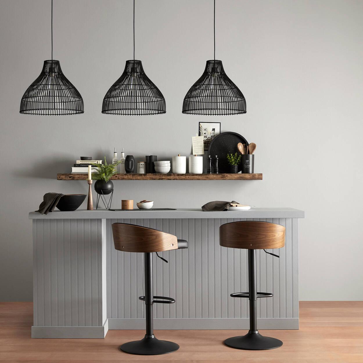 Tabouret de bar ajustable en similicuir et en bois avec base en métal