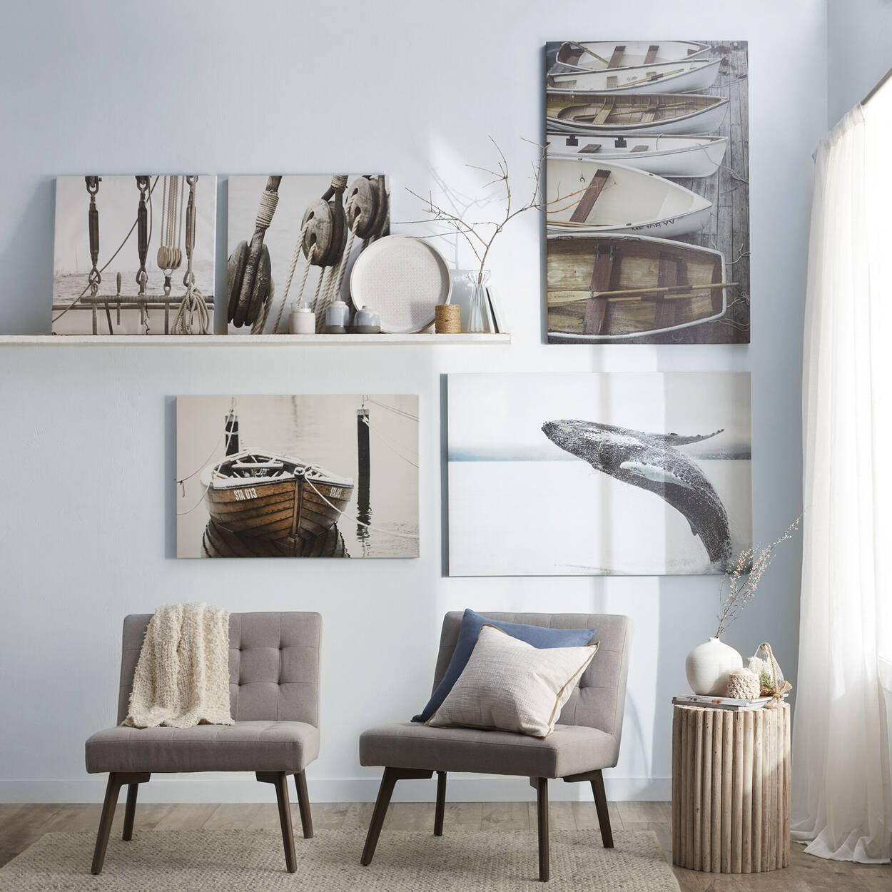 Jumping Whale Printed Canvas