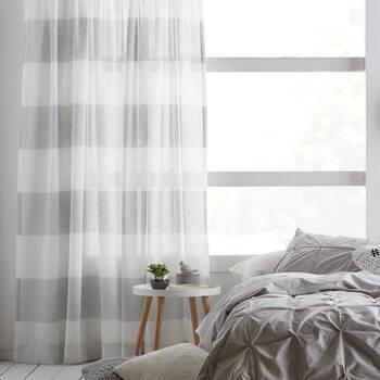 Striped Rod Pocket Sheer Curtain