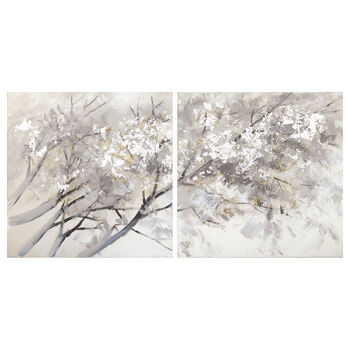 Set of 2 Oil Painted Tree Canvases