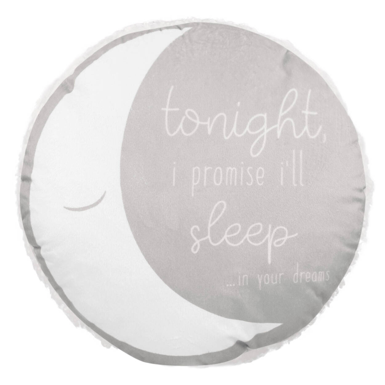 """I'll Sleep Sherpa-Lined Round Decorative Pillow 15"""" X 15"""""""