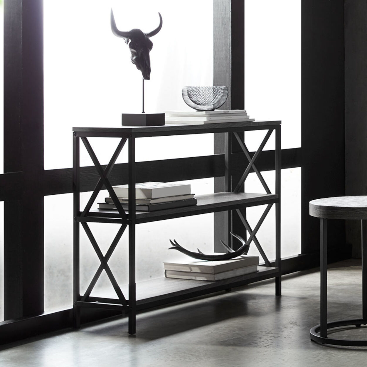 Three-Shelf Wood Veneer and Metal Console Table