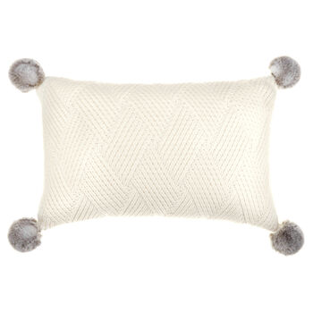"Jaylin Knitted Decorative Lumbar Pillow with Faux Fur Pom-Poms 14"" X 22"""