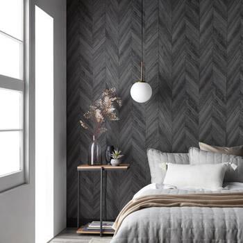 Dark Grey Chevron Peel-&-Stick Wallpaper