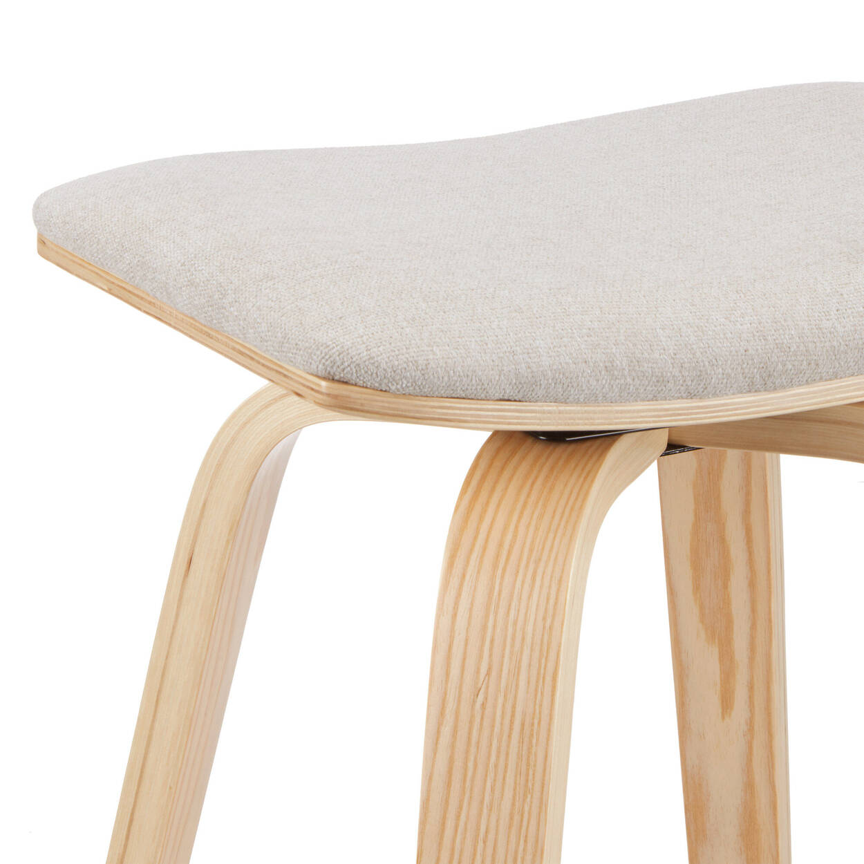 Fabric and Natural Wood Backless Stool