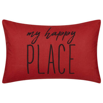 "Happy Place Water-Repellent Decorative Lumbar Pillow 13"" X 20"""