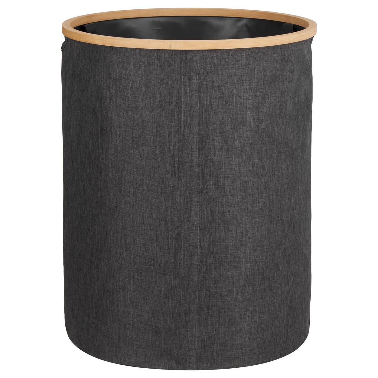 Panier à linge avec anneau en bambou