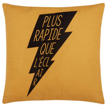 "Brian Decorative Pillow with French Typography 18 "" x 18"""