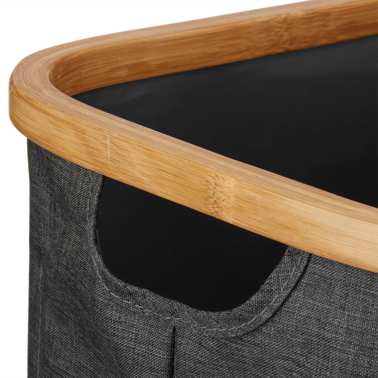 Panier de rangement avec anneau en bambou