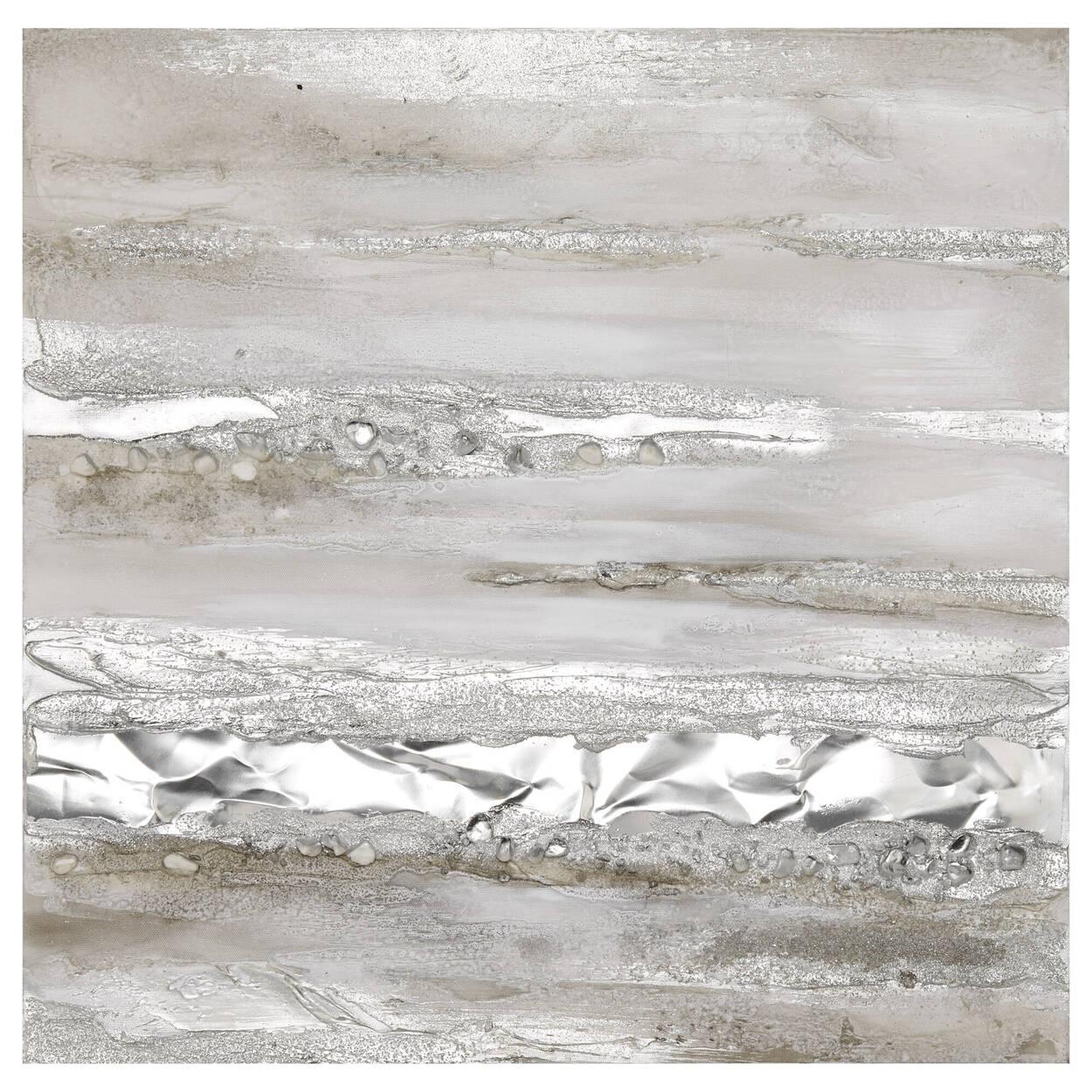 Tableau abstrait peint à l'huile avec accents métalliques