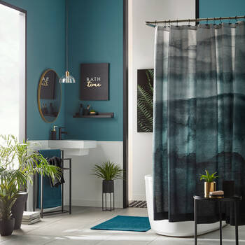 Teal Watercolor Shower Curtain