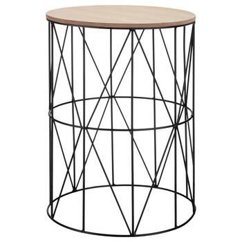 Table d'appoint en tige de métal et en bois