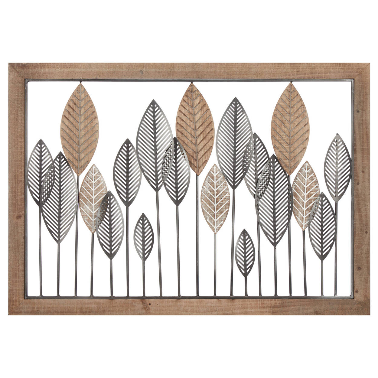 Framed Metal and Wood Leaves Wall Art