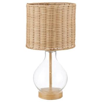 Lampe de table en verre bullé et abat-jour en rotin