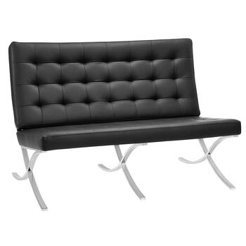 Double Seater Barcelona Lounge Chair with Metal Legs