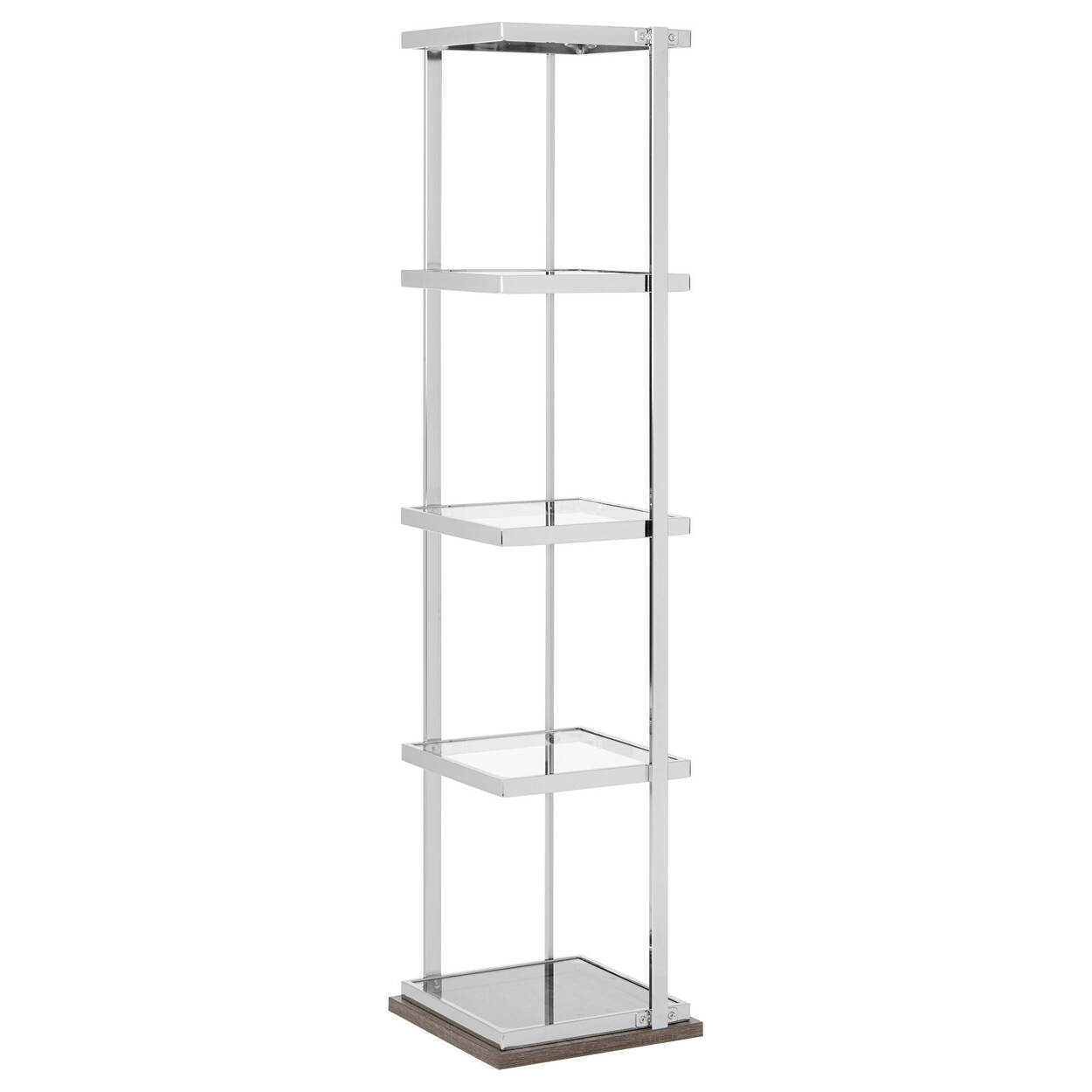 Chrome and Glass Shelf with Laminated Wood Base | Bouclair.com