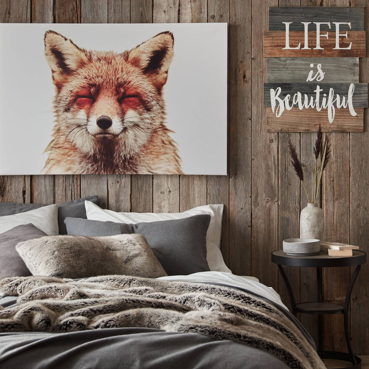 "Wolf Faux Fur Throw 50"" X 60"""