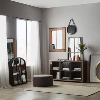 Miroir en bois rustique avec étagère
