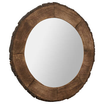 Live Edge Round Wood Mirror