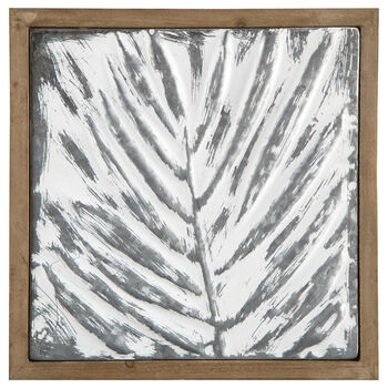 Leaf Embossed Metal and Wood Wall Art