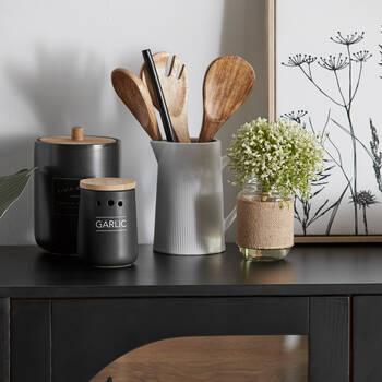 Black Ceramic Garlic Container