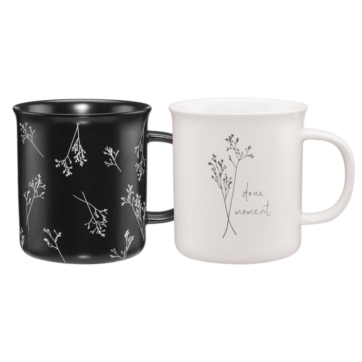 Ensemble de 2 tasses à motif floral