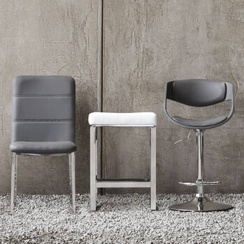 Faux Leather and Metal Adjustable Bar Stool