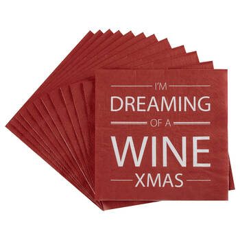 Pack of 20 Wine Christmas Table Napkins