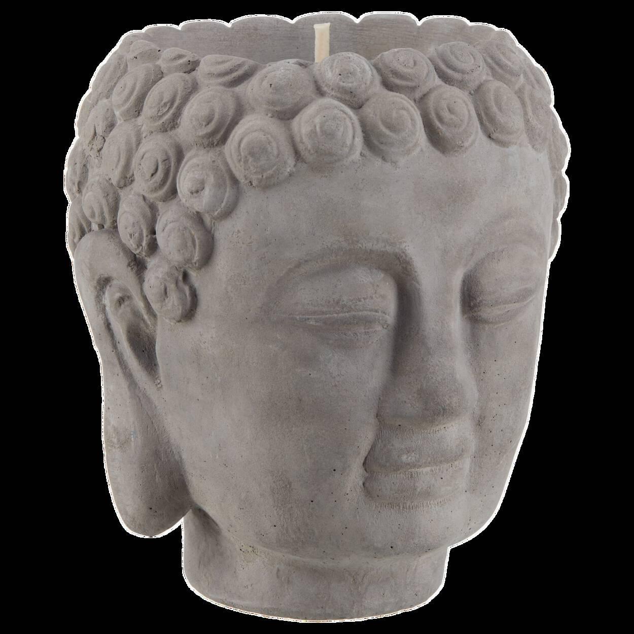 Porte-chandelle Bouddha en ciment gris